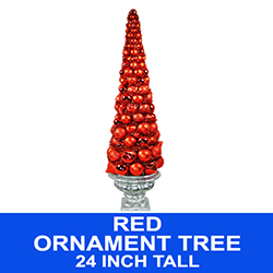 2 Foot Red Potted Christmas Ball Tree