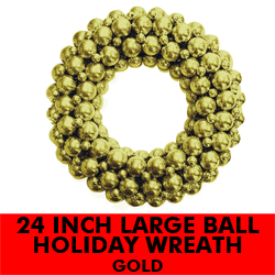 24 Inch Large Ball Wreath Gold