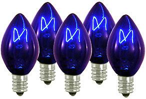 25 Incandescent C7 Transparent Blue Night Light Dimmable Bulbs