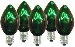 25 Incandescent C7 Transparent Green Night Light Dimmable Bulbs