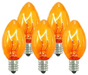 25 Incandescent C7 Transparent Orange Night Light Dimmable Bulbs