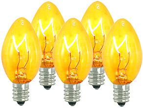 25 Incandescent C7 Transparent Gold Night Light Dimmable Bulbs