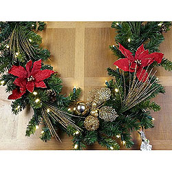 72 Inch Red Velvet Poinsettia Garland With Gold Ornaments 50 LED 5MM Warm White Lights