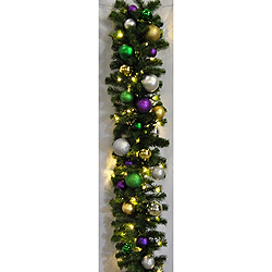 9 Foot Mixed Blend Mardi Gras Garland  100 LED Warm White Lights