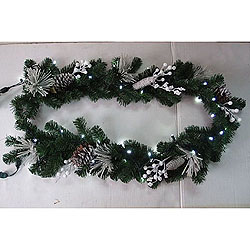 6 Foot Christmas Garland With White Ornaments Pure White LED Lights