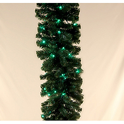 9 Foot PreLighted Sequoia Pine Garland LED Green Lights