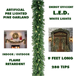 Sequoia 9 Foot Lighted Christmas Garland Pure White Lights