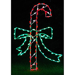 LED Candy Cane With Bow Outdoor Lawn Decoration