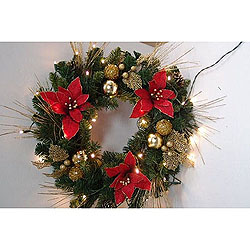 24 Inch Red Velvet Poinsettia Wreath With Gold Ornaments 35 LED 5MM Warm White Lights