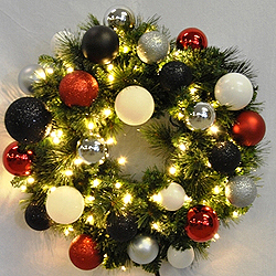 2 Foot Sequoia Modern Wreath 50 LED Warm White Lights