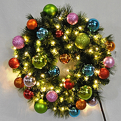 2 Foot Sequoia Tropical Wreath 50 LED Warm White Lights