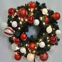3 Foot Sequoia Candy Wreath 70 LED Warm White Lights