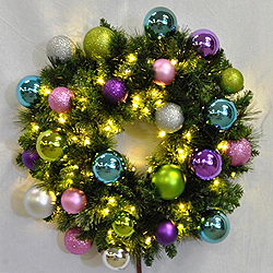 3 Foot Sequoia Woodland Wreath 70 LED Warm White Lights