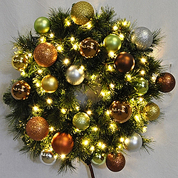 4 Foot Sequoia Candy Wreath 70 LED Warm White Lights