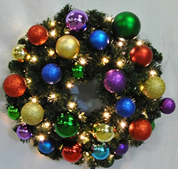 4 Foot Sequoia Royal Wreath 70 LED Warm White Lights