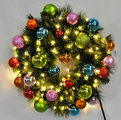 4 Foot Sequoia Tropical Wreath 70 LED Warm White Lights