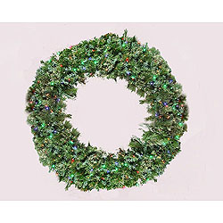 6 Foot Blended Pine Wreath 140 LED Multi Lights