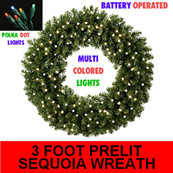 Sequoia 3 Foot Lighted Christmas Wreath 70 Battery Operated Multi Lights