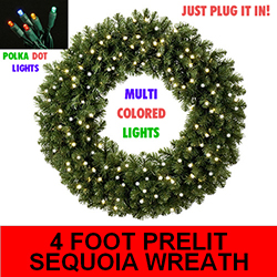 Sequoia 4 Foot Lighted Christmas Wreath 100 Multi Lights