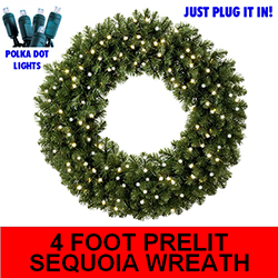Sequoia 4 Foot Lighted Christmas Wreath - 100 Pure White Lights