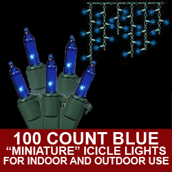 100 Blue Icicle Lights 3 Inch Spacing Green Wire