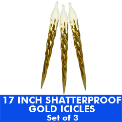 17 Inch Shatterproof Gold And White Icicles Set Of 3