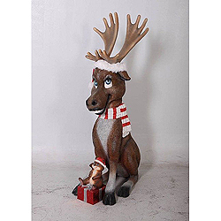 4 Foot Moose With Squirrel Decoration