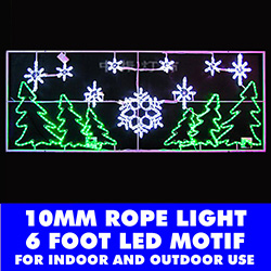 6 Foot 10MM LED Rope Light Pine Trees And Snowflakes Motif
