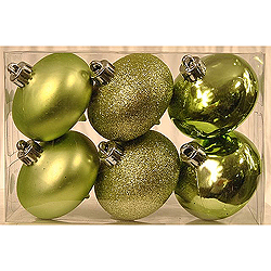 70MM Sage Green Smooth Onion Ornament Kit Assorted Finishes Box of 6