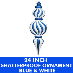24 Inch Shatterproof Plastic Ornament Blue and White