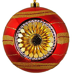 8 Inch Gold And Red Decorated Plastic Reflector Christmas Ball Ornament