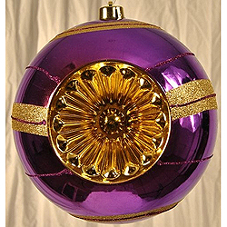 Purple And Gold Decorated Plastic Reflector Christmas Ball Ornament