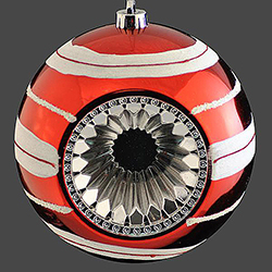 8 Inch Red And White Reflector Christmas Ball Ornament