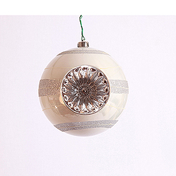8 Inch White And Silver Decorated Plastic Reflector Christmas Ball Ornament