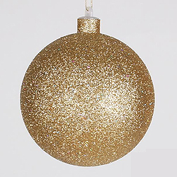 7.8 Inch Gold Glitter Round Ornament