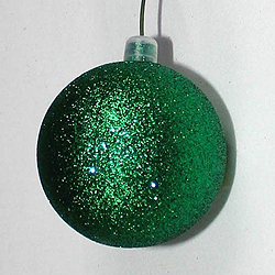 7.8 Inch Green Glitter Round Ornament