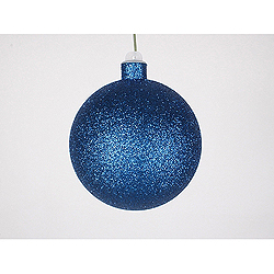 3 Inch Blue Glitter Round Ornament With Wire