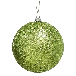 3 Inch Lime Glitter Round Ornament With Wire