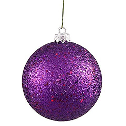 3 Inch Purple Glitter Round Ornament With Wire