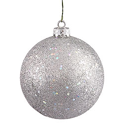 80MM Glitter Silver Round Ornament