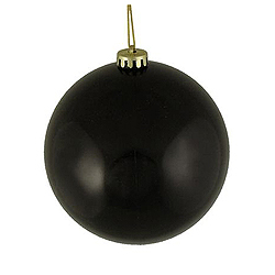 2 Inch Black Shiny Round Ornament with Wire Set of 12
