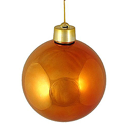 2 Inch Orange Shiny Round Ornament With Wire