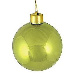 2 Inch Sage Green Shiny Round Ornament With Wire
