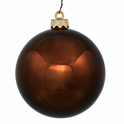 2.5 Inch Brown Shiny Round Ornament With Wire Box of 12