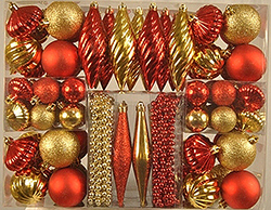 90 Piece Red And Gold Ornament Set