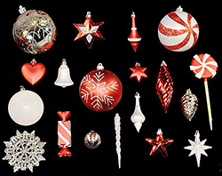 98 Piece Red And White Candy Cane Ornament Set