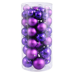 60MM Purple Shatterproof Matte Ornaments - Box Of 100