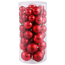 60MM Red Shatterproof Matte Ornaments - Box Of 100