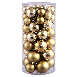 70MM Gold Shatterproof Matte Ornaments Box of 100