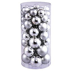 70MM Silver Shatterproof Matte Ornaments Box of 100